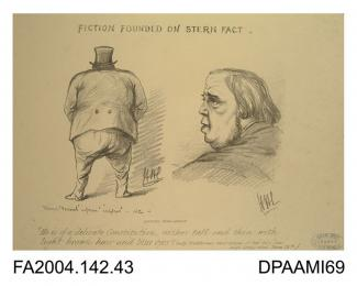 Cartoon sketch, print, charcoal, two views of the Claimant, from the rear, and left profile, printed by Adam Brothers of 10A New Bond Street, London, circa 1871-1874vol 2, page 45