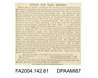 Newspaper cutting, text, giving an account of a shooting match between the Claimant and Mr George Rimell, in which the Claimant lost by one birdvol 2, page 63