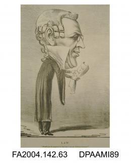 Cartoon sketch, print, charcoal, Sir John Coleridge in legal dress and wig, holding a piece of papervol 2, page 65
