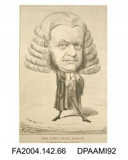 Cartoon sketch, print, charcoal, Chief Justice Bovill, standing wearing legal dress and wig, holding a notebook and quillvol 2, page 69