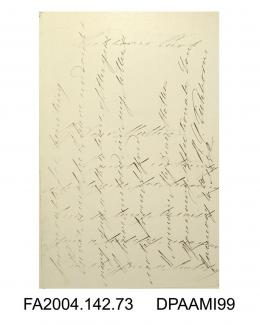 Photograph, first and final page of a letter from Roger Tichborne to his mother, the Dowager Lady Tichborne, with the writing crossed, 4 January 1852vol 2, page 76