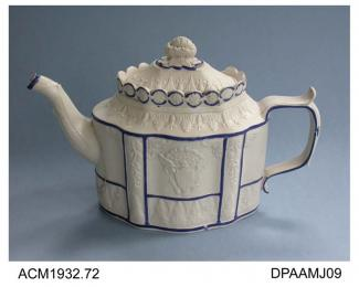 Teapot, white feldspathic stoneware, commode shape, with sliding lid, applied reliefs of the American national emblem and Peace personified as a woman with olive branch and discarded weapons, not marked, possibly Sowter and Co, Mexborough, Yorkshire, c1