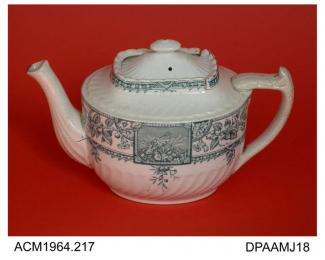 Teapot, white earthenware, cranked oval shape, with sliding lid, underglaze turquoise transfer printed design in Japanese style, base indistinctly marked with registration number 36328 for 1885 or 86828 for 1887, probably Staffordshire, c1885-1887