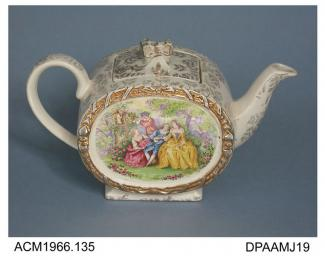 Teapot, white earthenware, slip cast, fancy shape with bow-shaped knop on lid, decorated with overglaze transfer-printed scene in colours showing 18th century figures in a garden, base with printed mark of James Sadler and Sons, Burslem, Stoke-on-Trent,