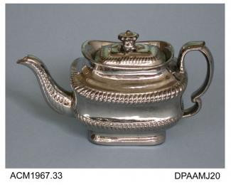 Teapot, red earthenware, oblong shape, the exterior silver lustred to imitate silver-ware, not marked, probably made in Staffordshire, c1820-1830
