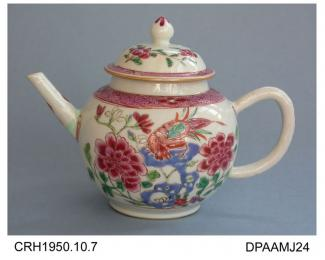 Teapot, hard paste porcelain, globular shape, exotic bird and peonies painted in famille rose colours, cone shaped knop, not marked, made in Jingdezhen, Jiangxi Province, China, c1740-1760