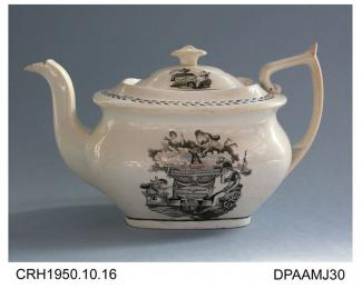 Teapot, bone china, London shape, decorated with a black transfer print of Britannia and others mourning at the tomb of Princess Charlotte, not marked, unidentified maker c1820 Princess Charlotte, daughter of the Prince Regent and Caroline of Brunswick,