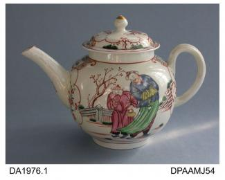 Teapot, soaprock porcelain, globular shape, decorated with polychrome chinoiseries and scrolled cartouches in iron red, not marked, made in Liverpool, c1770