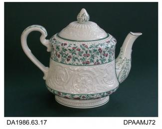 Teapot, creamware, Patrician shape with printed thistles design in turquoise and painted pink details, impressed date and factory marks on base, printed mark inside lid USA PATENT APPLIED FOR and shape name, made by Josiah Wedgwood and Sons, Etruria, St