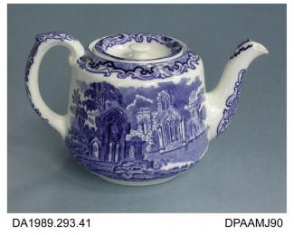 Teapot, white earthenware, wide conical shape, blue transfer printed Abbey 1790 design, printed factory mark and pattern name on base, made by George Jones, Crescent Pottery, Stoke-on-Trent, Staffordshire, c1920-1950