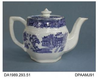 Teapot, white earthenware, hexagonal with angular handle and button knop on ill-fitting lid, blue transfer printed Real Staffordshire Willow design, printed factory mark and pattern name on base, made by Harvey Adams and Co, Longton, Stoke-on-Trent, Sta