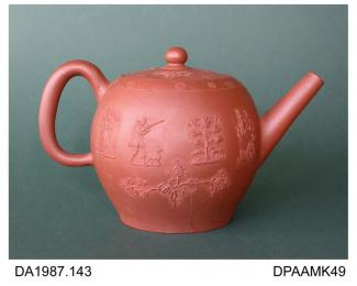 Teapot, red stoneware, inverted pear shape, sprigged decoration including scrolling foliage and a man with gun and dog, not marked, made in Staffordshire, c1760