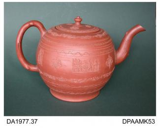 Teapot, or punch pot, red stoneware, globular shape with crabstock handle and spout, decorated with incised and rouletted borders and applied sprigs of a seated lady being presented with two falcons beside a pavilion, not marked, made in Staffordshire,