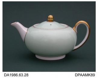 Teapot, bone china, low round shape, aerographed celadon glaze with gilt dash rim and details, printed factory mark and painted pattern number on base, made by Wedgwood and Sons, Barlaston, Staffordshire, c1950-1962