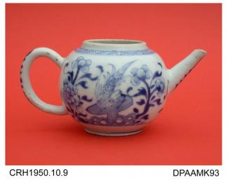 Teapot, lid missing, hard paste porcelain, globular shape, blue painted bird and flowers, not marked, made in Jingdezhen, Jiangxi Province, China c1750