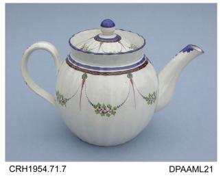Teapot, pearlware, ribbed globular shape with strap handle and deep, slightly flaring rim, decorated with flower swags and borders in enamel colours, not marked, probably made in Staffordshire, c1800shape and decoration were probably intended to mimic