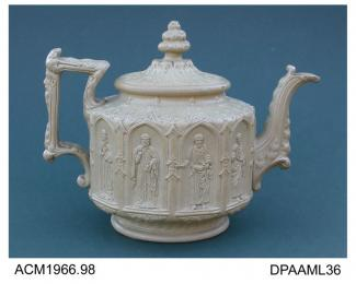 Teapot, stoneware, smear glazed, drum shape moulded in high relief with gothic architectural details and eight ecclesiastical figures, numbers 36 and 60 impressed on base, made by Charles Meigh, Hanley, Stoke-on-Trent, Staffordshire, c1845known as Mins