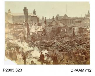 Photograph, sepia, showing the aftermath of fire at T Burberry and Sons store, Winchester Street, Basingstoke, Hampshire. 07.04.1905