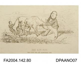 Cartoon sketch, print, a cow standing in a meadow, the Claimant pulling her by the horns, the Infant pulling her by the tail, and two lawyers dressed as milkmaids milking her dry, circa 1871-1874vol 2, page 79