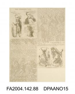 Newspaper cutting, text with cartoon sketches and captions, a satirical description of the numbers of witnesses and the heavy handed questioning carried out by the barristers during the Tichborne v Lushington trial. Written under the pseudonym FUN, circ
