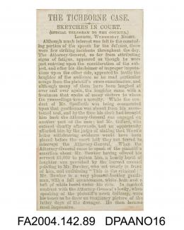 Newspaper cutting, a description of the Attorney General's speech and Mr Frederick Bowker's appearance, circa 1871-1874vol 2, page 90