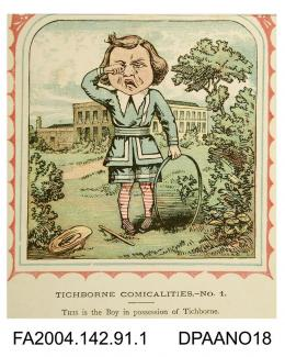 Coloured print, one of a series of nine cartoons satirising the Tichborne v Lushington trial, based on the nursery rhyme 'This is the house that Jack Built'. Depicts the Infant crying in front of Tichborne House. Circa 7 July-7 November 1871.vol 2, pag
