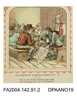 Coloured print, one of a series of nine cartoons satirising the Tichborne v Lushington trial, based on the nursery rhyme 'This is the house that Jack Built'. Depicts five working men sitting on benches at a table, drinking from tankards. One has a newsp