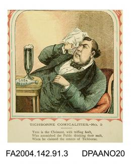 Coloured print, one of a series of nine cartoons satirising the Tichborne v Lushington trial, based on the nursery rhyme 'This is the house that Jack Built'. Depicts the Claimant lying back in an easy chair, mopping his brow, with a large drink on the t