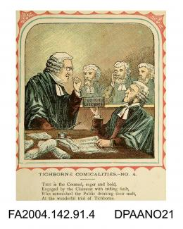 Coloured print, one of a series of nine cartoons satirising the Tichborne v Lushington trial, based on the nursery rhyme 'This is the house that Jack Built'. Depicts a court scene with Serjeant Ballantine handing a box of voice lozenges to Sir John Cole