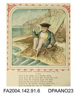 Coloured print, one of a series of nine cartoons satirising the Tichborne v Lushington trial, based on the nursery rhyme 'This is the house that Jack Built'. Depicts Judge Bovill in ordinary clothes sitting on the beach at Brighton. Refers to the adjour