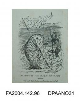 Cartoon sketch, a large fish with rod and hamper regarding a large hook dangling in front of it. Caught on the hook are several lawyers, a bag and a piece of paper labelled COSTS. Circa 1871-1874.vol 2, page 97