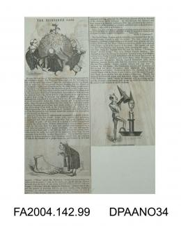 Newspaper cutting, a satirical account of the evidence relating to the Claimant's and Roger Tichborne's thumbs, followed by a imaginary account of all those involved in the Court proceedings spending a convivial Christmas at Tichborne Park. Illustrated
