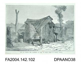 Two engravings, the Claimant's butcher's shop in Wagga Wagga, and the Claimant's hut where he lived with Mary Ann in Wagga Wagga. Circa 1865-1875vol 2, page 103