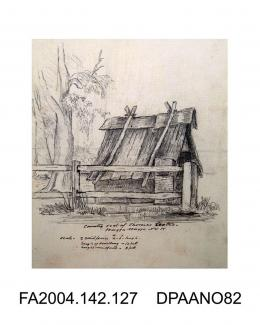 Drawing, pencil and ink, the shack in Wagga Wagga where Arthur Orton alias Thomas Castro and his wife Mary Ann Bryant lived when first married circa 1865. Said to be the original sketch sent from Wagga Wagga, and initialled by Frederick Bowker. Mounted