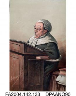 Print, charcoal and chalk, Lord Chief Justice Cockburn, seated in court, wearing legal dress and looking severe, by Ape, circa 1873-1874vol 2, page 134