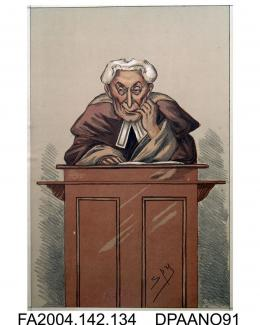 Print, charcoal and chalk, The Hon Mr Justice Mellor, seated in court, wearing legal dress with one finger in his mouth and looking sly, by Spy, circa 1873-1874vol 2, page 135