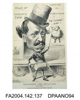 Print, charcoal, The Hon Mr Guildford Onslow, depicted as a showman banging a drum outside a circus trailer and pointing to a poster of the Claimant proclaiming 'THE CLAIMANT ALIVE !!', circa 1871-1874vol 2, page 138