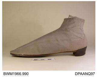 Boots, pair, women's, ankle boots, drab wool gabardine, side laced with matching silk laces over matching tongue, square toe with rounded corners, lined white linen, low stacked leather heel, some moth damage, approximate length 245mm, approximate width