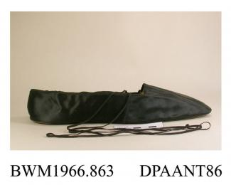 Shoes, pair, women's, black satin, broad square toe, narrow black elastic ties at the ankle, lined white kid, flat straight leather sole, insole labelled Corpe, 126 Mount Street, Berkeley Square, London, approximate length 260mm, approximate width of so