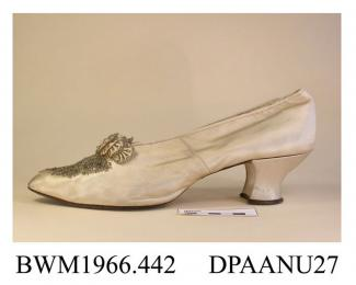 Shoes, pair, women's, cream satin, pointed toe trimmed with crystal and grey beads on vamp and bow, lined white kid, straight side and rear seams, curved and waisted knock-on heel, leather sole stamped 6 and 3, approximate length overall 260mm, approxim