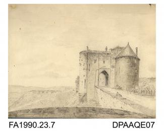 Index number 6: the old gateway entrance to Dover Castle, drawn by Captain Durrant, May 1809 album of watercolours/drawings of Kent, Hampshire, Sussex, Isle of Wight, Wiltshire, Essex, Suffolk and Devon, contained within paper boards edged with morocco,