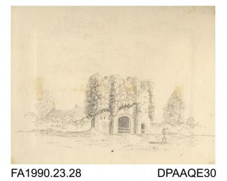 Index number 25: drawing, pencil drawing, St Radagund's Abbey at Broadsoale, a ruin overgrown with ivy (?), drawn by Captain Durrant, 1809 album of watercolours/drawings of Kent, Hampshire, Sussex, Isle of Wight, Wiltshire, Essex, Suffolk and Devon, con