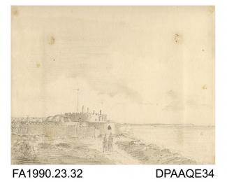 Index number 29: drawing, pencil drawing, Walmer Castle from the west, Dover Kent, drawn by Captain Durrant, 1808 album of watercolours/drawings of Kent, Hampshire, Sussex, Isle of Wight, Wiltshire, Essex, Suffolk and Devon, contained within paper board