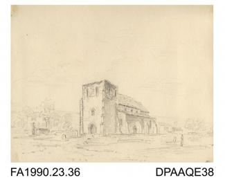 Index number 33: drawing, pencil drawing, sketch of Brabourne Church and graveyard, Brabourne, Kent, drawn by Captain Durrant, 1809 album of watercolours/drawings of Kent, Hampshire, Sussex, Isle of Wight, Wiltshire, Essex, Suffolk and Devon, contained