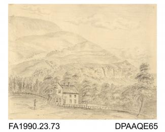 Index number 69: drawing, pencil drawing, view of St Boniface Cottage, Isle of Wight, drawn by Captain Durrant, 1802-1813 album of watercolours/drawings of Kent, Hampshire, Sussex, Isle of Wight, Wiltshire, Essex, Suffolk and Devon, contained within pap