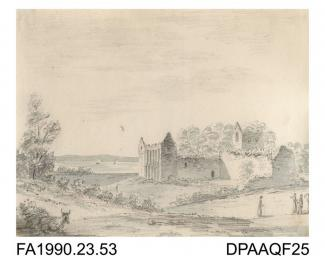 Index number 49: drawing, pencil drawing, a view of Netley Abbey, Netley, Hampshire, drawn by Captain Durrant, 1810 album of watercolours/drawings of Kent, Hampshire, Sussex, Isle of Wight, Wiltshire, Essex, Suffolk and Devon, contained within paper boa