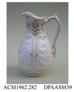 Jug, glazed Parian porcelain, 'International' design, featuring relief-moulded classical figures representing Art, Science, Industry and Commerce; base, moulded factory mark, pattern name and registered design mark with encoded date of 25th January 1862