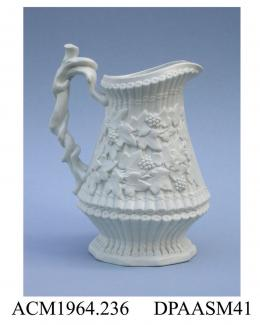 Jug, smear-glazed white stoneware, relief-moulded 'Sylvan' design of bound bamboo canes overgrown with fruiting ivy; base, registered design mark with encoded date of 16th February 1849 impressed on a raised tablet, made by Ridgway and Abington, Church