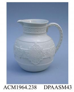 Jug, glazed Parian porcelain, relief-moulded design incorporating a fret and wavescroll band superimposed on a reeded frieze; base, impressed factory mark and registered design mark with encoded date of 19th October 1871 impressed on what appears to be