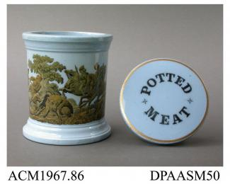 Potted meat jar, with lid, blue-stained stoneware, the lid with printed inscription POTTED MEAT, the jar decorated with a depiction of a boar hunt in a stippled engraving superimposed on a conforming printed yellow ground; printed registered design mark